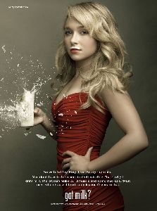 Celebrity Hayden Panettiere red dress pictures in her first Got Milk ad facial