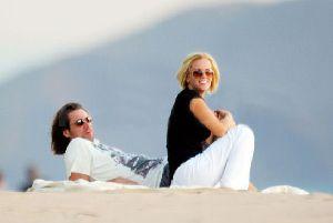 Jenny McCarthy pic with Jim Carrey wathcing the sun set