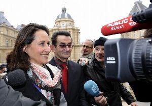 Segolene Royal : with senator Gerard Miquel talking to jouranlists