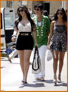 kim kardashian with sister Kourtney Kardashian and mother Kris Jenner Walking The Streets Of Monaco on June 12th 2008