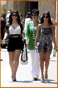 kim kardashian with sister Kourtney Kardashian and mother Kris Jenner Walking The Streets Of Monaco on June 12th 2008