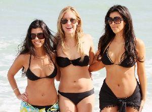 Kim and Kourtney Kardashian with Kristin Cavallari Photos at the Miami Beach