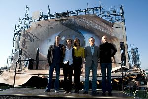 Olga Kurylenko : Olga with Daniel Craig and the movie cast of Quantum of Solace 2008 movie  and director Marc Forster