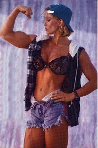 Cory Everson : cory everson in a casual outfit wearing a denim cap
