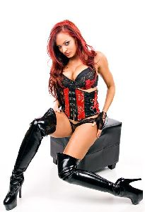 Christy Hemme in black leather boots