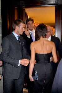 VICTORIA BECKHAM : with David Beckham having dinner at restaurant DA Giannino