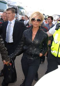 VICTORIA BECKHAM : stylish leather jacket and pants at the British Formula 1 Grand Prix