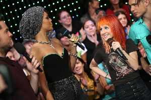 Rihanna : with Haley Williams of Paramore onstage during MTV s Total Request Live at the MTV Times Square Studios on October 9, 2007 in New York City