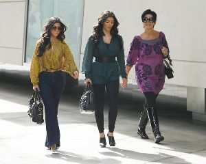 Kourtney Kardashian : with her Mom and sister Kim Filming their show at Century City Mall on October 15th , 2008