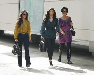 Kourtney Kardashian : and sister Kim with their Mom Filming their show at Century City Mall on October 15th , 2008