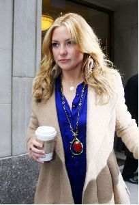 Kate Hudson : with a cup of coffee as she heads towards a building in New York City yesterday afternoon 5th January 2009