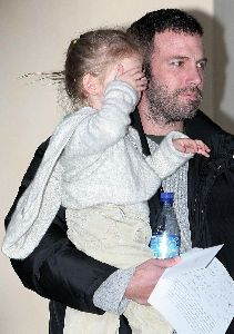 Ben Affleck : Violet is three years old now. she is a bit shy and covers her eyes