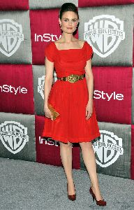 Emily Deschanel : arrives at the InStyle Warner Bros. after party for the 66th Annual Golden Globe Awards held at the Oasis Court at the Beverly Hilton Hotel on January 11th 2009