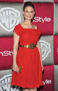 Emily Deschanel : wearing a beautiful red dress at the InStyle Warner Bros. after party for the 66th Annual Golden Globe Awards held at the Oasis Court at the Beverly Hilton Hotel on January 11th 2009