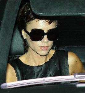 Victoria Beckham in her car seen arriving at LAX airport in Los Angeles, California on January 25th 2009