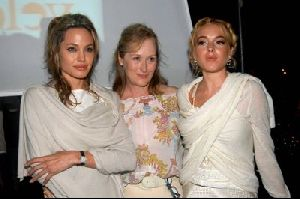 Actress Angelina Jolie picture with Lindsay Lohan and Meryl Streep