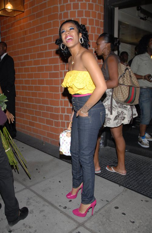 Keyshia Cole : keyshia cole at Mr Chow in Beverly Hills wearing a yellow top